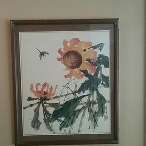 Vintage Asian Sunflower and Dragonfly Framed Print